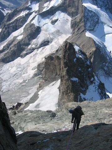 Les rappels au dessus du Glacier carré