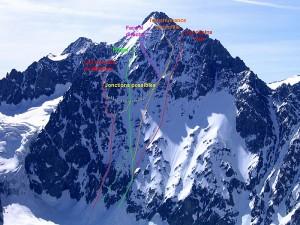 Les itinéraires à ski de la face nord ouest des Agneaux