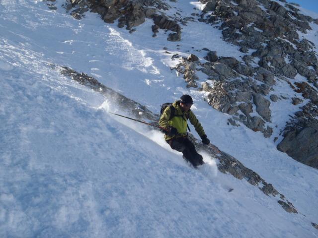 Dôme de Monetier à ski, couloir des Italiens