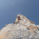 Sylvain sur le fil du pilier Gervasutti