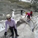 Ecole glace - Glacier Blanc - L'équipe en route pour explorer le glacier!