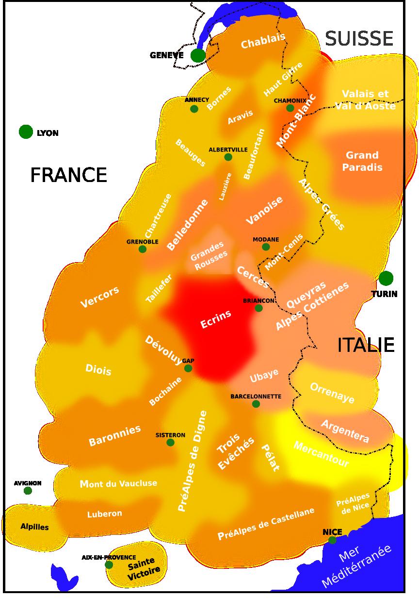 carte de localisation des Ecrins