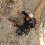 Voie de la Grand Mère - Tibo dans la traversée de la quatrième longueur
