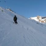 Hors piste Serre Chevalier - Franck dans la pente de l'Yret