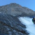 Eiger - Fin de la goulotte entre les névés