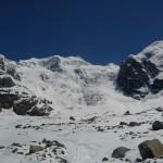 Piz Bernina - Le labyrinthe, à droite contre le rocher