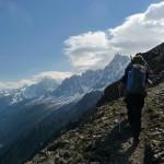 Mont Blanc - Voie normale - Sur le sentier des Rognes