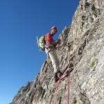 Pilier Kelle - Pelvoux - Dans le vaste pilier de 200m avant l'arête
