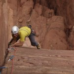 Wadi Rum - Lionheart - Fred dans L4, un 6a soutenu de toute beauté