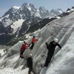 La petite troupe au boulot sur le glacier Blanc