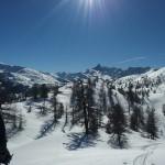 Ski hors piste Montgenèvre - Vue sur le Rochebrune