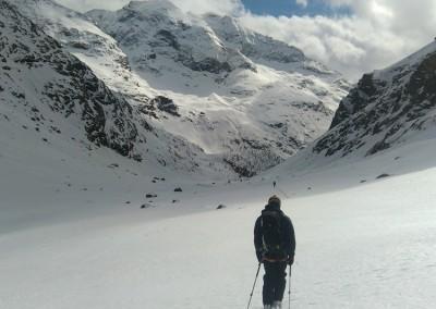 Dans le vallon sous le refuge Aosta