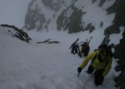 Raid ski Haute Maurienne - L'équipe dans le couloir
