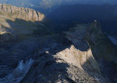 Arête nord Piz Badile - La queue du monstre