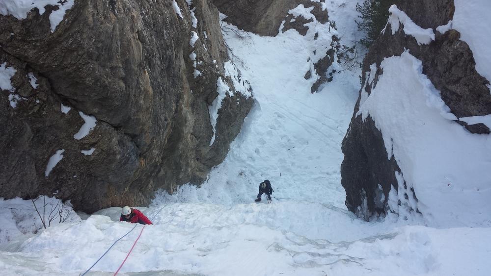 Initiation cascade de glace - Ceillac - Dans la branche de droite