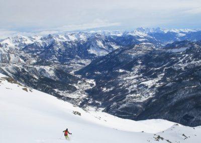 Ski de randonnée Pelvoux - Vue plongeante sur la Vallouise