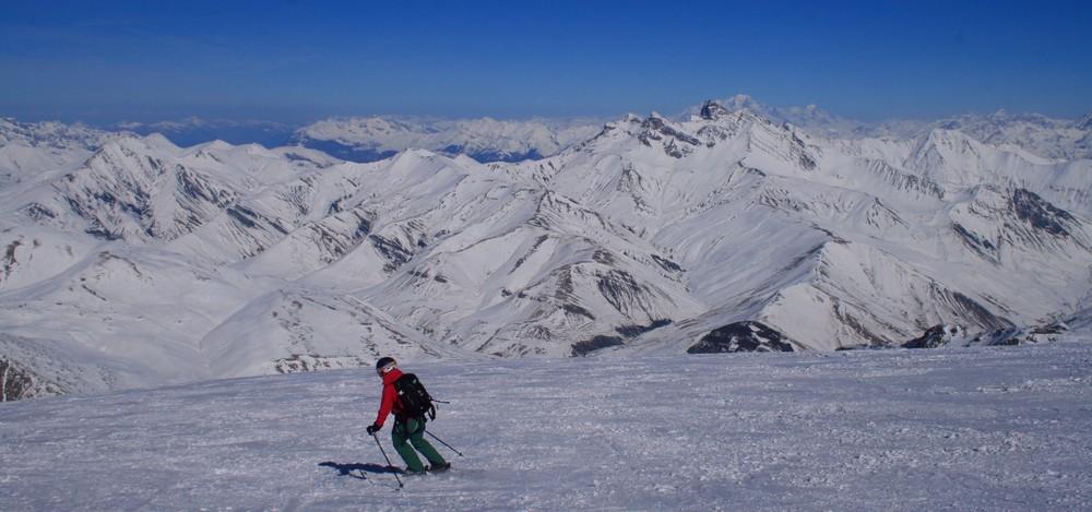 Hors piste - La Grave - Ski sur fond de Mont-Blanc