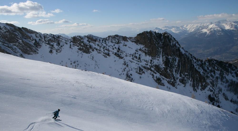 Ski de randonnée - Les Orres - Deuxième descente du jour en belles condi