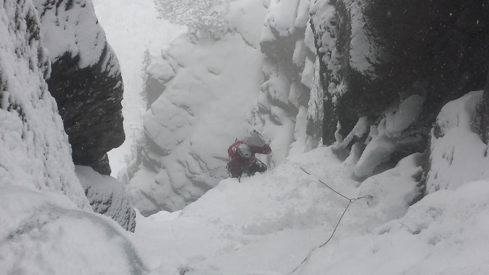 Cascade glace Ceillac - Forme du Chaos - Sortie du crux