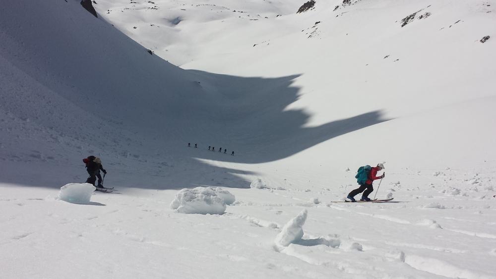 Raid Cerces - Tour du Queyrellin - Dans la pente de la casse blanche