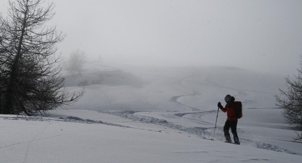 Ski de rando - Crête de la Seyte - Nos traces dans le haut