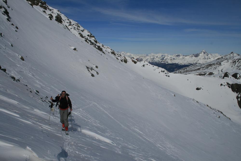 Raid ski Queyras - Tête du Longet - Arrivée au Col de la Noire