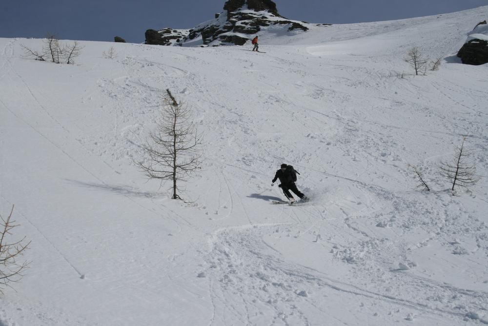 Raid ski Queyras - Tête du Longet - On trouve même un peu de poudre