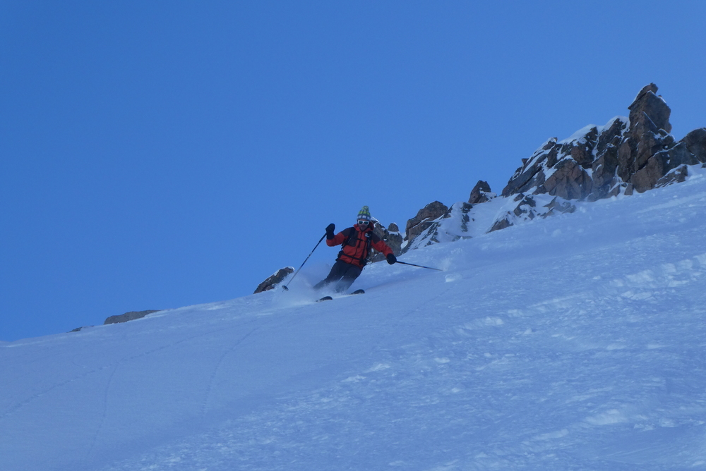 Etendard Combeynot - Couloir nord - Premiers virages