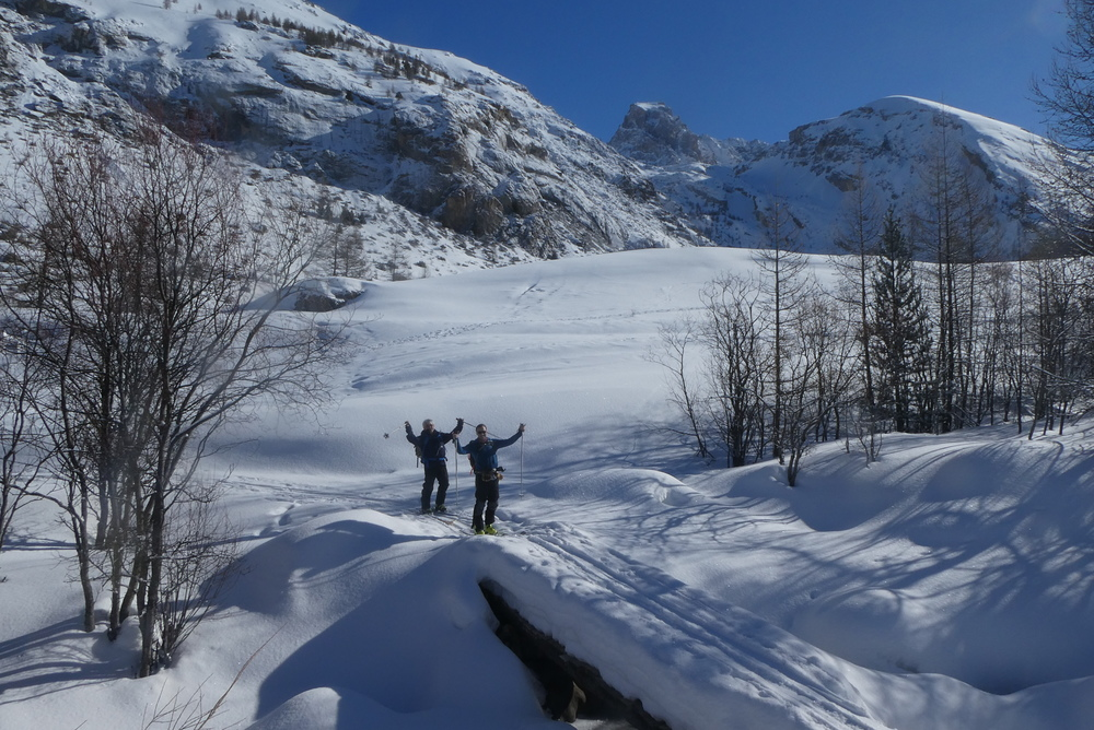 Ski randonnée Ubaye Fouillouse - Vers le Col de Mirandol - Le Pont vers le bonheur