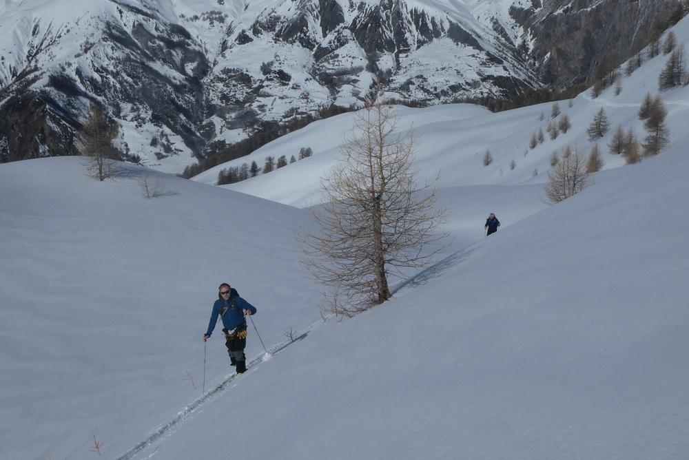 Ski randonnée Ubaye Fouillouse - Vers le Col de Mirandol - Montée
