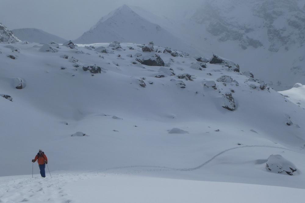 Ski randonnée Ubaye Fouillouse - Tour du Replat des Genisses - En montant vers le col de la Portioletta
