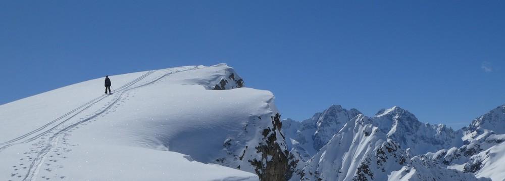 La Blanche - Freerando Pelvoux - Départ du sommet