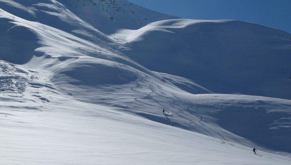 Ski hors piste rando - Valloire - Valmeinier - Fin de la descente