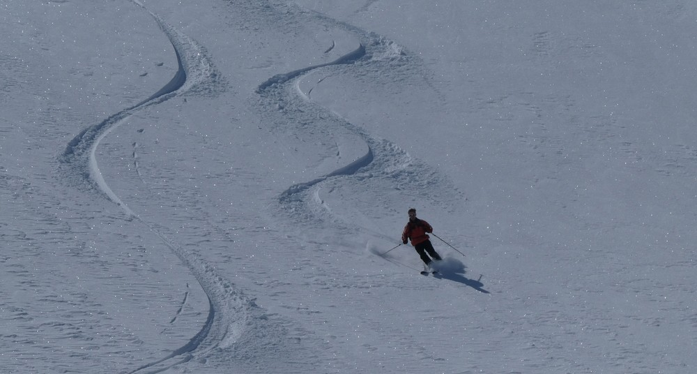 Ski rando terre rouge - Vers la Pissine - Lolo à la trace