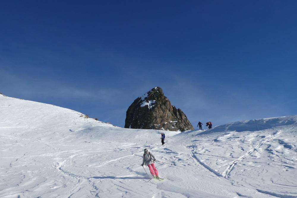 Initiation ski randonnée - Pic Cornivier - Descente sur fond de rouchon