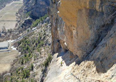 Escalade Grande voie - Champcella - La rampe de la Rama, vue d'en haut
