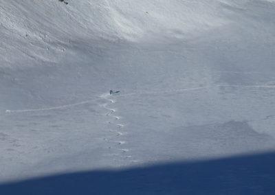 Raid ski randonnée Cerces - Premier tricotage au fond du Crouzet