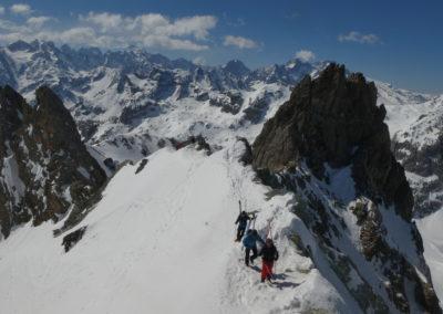 Raid ski randonnée Cerces - Sur la crête de la Pointe des Cerces