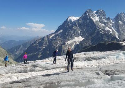 Initiation découverte alpinisme - Sur le glacier blanc, devant le Pelvoux