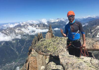 Antoine au sommet du Grépon