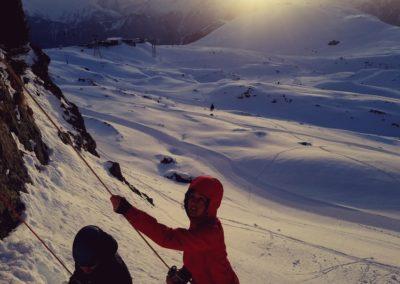 cascade glace Alpe Huez - Soleil couchant