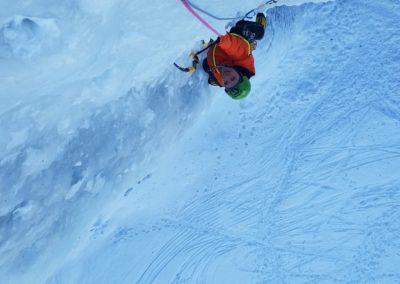 Cascade glace - Argentera - Sortie du raide