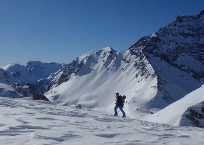 Raid ski - Col de Stroppia - Humain montant