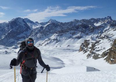 Raid ski - Bellino - Arrivée au Col