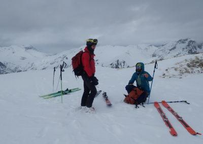 Raid ski - Couloir Eyssilloun - Au sommet du couloir
